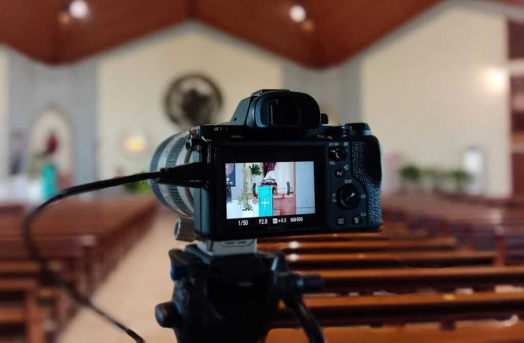 Camera in church